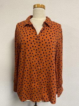 Vrolijke oranje bruine bloes van Hema Maat L