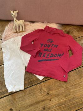 Roze longsleeve met col van CKS en witte legging van H&M in maat 86