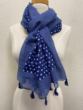 Nieuw: Sjaal 'Stippensjaal met tassels' in navy blauw