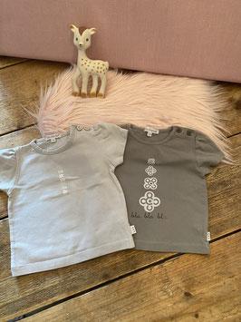 2 grijze shirts van Bla Bla Bla maat 74