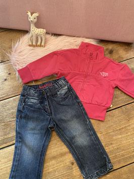 Roze vest van Feetje maat 74 en spijkerbroek van Noppies maat 80