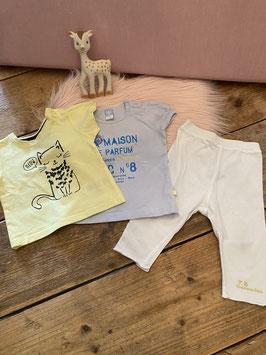 2 shirts van Primark en BFC en legging van Taille O in maat 68