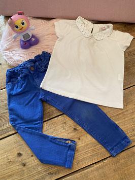 Shirt met kraag en broek van Zara Girls maat 98