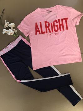 Roze shirt van Page One Young met sportieve legging in maat 134/140