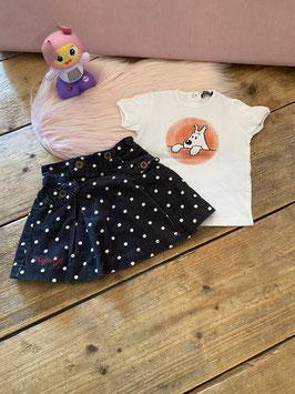 Shirtje van Tintin en rok van Nijntje maat 80/86