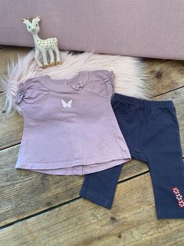 Roze shirt van Grain De Blé en grijze legging van Dirkje maat 74