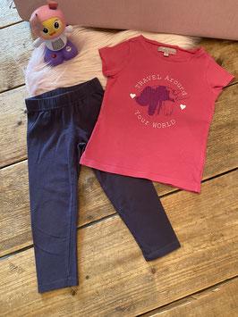 Roze shirt van Lisa Rose en grijze legging van Frendz in maat 92