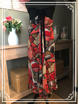 Strapless jurkje in rood-zwart-beige tinten-maat 42