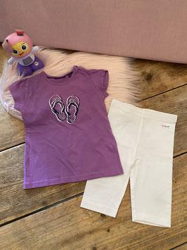 Paars shirt van Mexx maat 80 en witte legging van Esprit maat 74