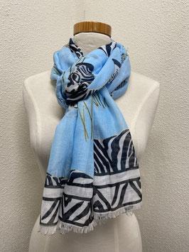 Nieuw: Sjaal 'Summer scarf Zebra' in blauw