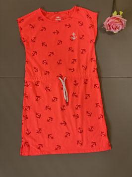 Oranje jurkje met ankers van WE maat 122/128