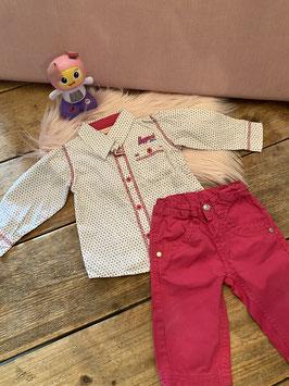 Gestipte blouse van Noppies met roze broek van Little Girl Star in maat 74