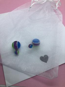 Nieuw: dubbelzijdige parel oorbellen in blauw - groen - paars