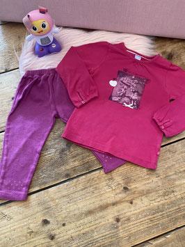 Roze shirt van BFC en paarse legging maat 86