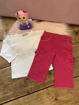 Witte longsleeve en roze broekje van Mexx maat 68