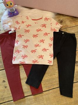 Shirt van Primark en 2 leggings van Frizzle en Zara maat 92/98