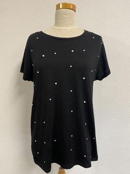 Zwart shirt met kralen in maat XL