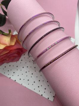 Vijf leuke paarse armbanden