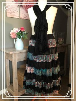 Prachtige rok zwart-barok print met mooie sjaal-maat 46-48
