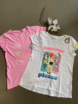 Wit shirt van H&M en stoer roze shirt in maat 134/140