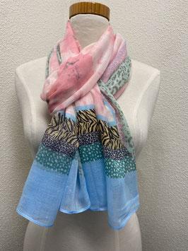 Nieuw: Sjaal in panter print in zachte zomerkleuren