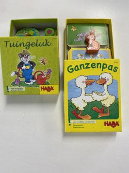 Twee spelletjes Tuingeluk en Ganzenpas