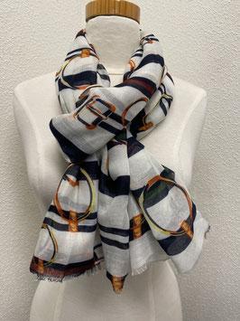 Nieuw: Een gestreepte sjaal met gouden ringen motief