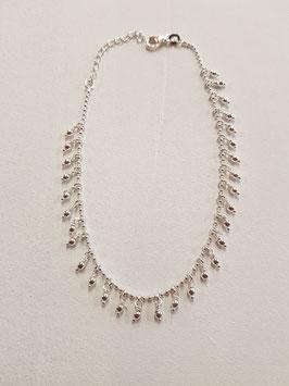 Fusschötteli Silber mit Tropfenanhänger Silber Länge 23-26cm verstellbar