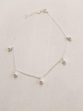 Fusschötteli Silber mit Perlen weiss Länge 22-25cm verstellbar