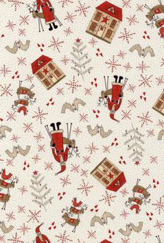 Santas, Cream, Scandinavian Christmas, Lynette Anderson, Lecien 08049550720