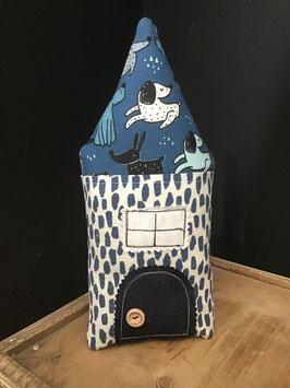 Maisonnette coussin décoratif tissu PETITS CHIENS - Léo 1