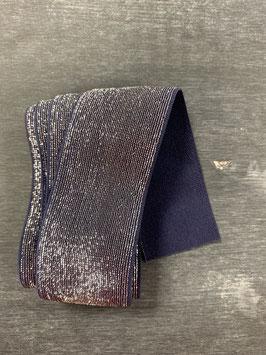 Bündchengummi blau silber