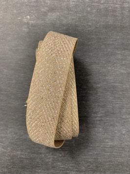 Ripsband beige silber zickzack