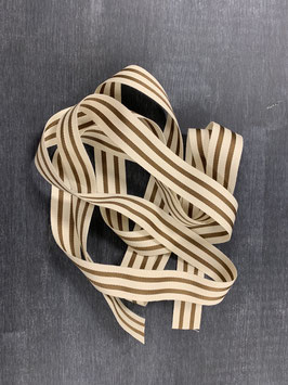 Ripsband natur Bronze Streifen