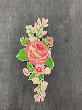 Bügelmotiv 'Blumenranke in rosa'