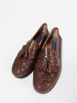 leather slippers brown