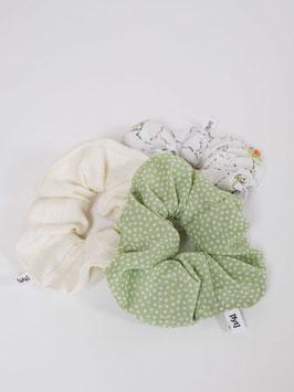 reworked scrunchie set polka dots light green