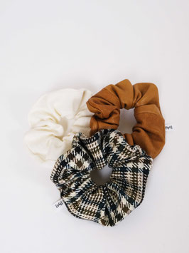 reworked scrunchie set wool leather linen