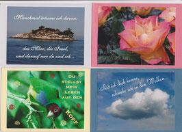 4 verschiedene Foto-Faltkarten: DU STELLST MEIN LEBEN AUF DEN KOPF