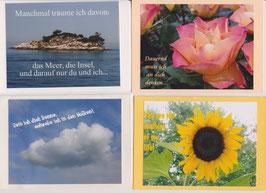 4 verschiedene Foto-Faltkarten: NUR DU UND ICH