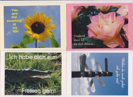 4 verschiedene Foto-Faltkarten: DAUERND MUSS ICH AN DICH DENKEN