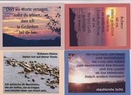 4 verschiedene Foto-Faltkarten: TRAUER - SCHWERE STEINE LASTEN AUF DEINER SEELE