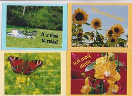 4 verschiedene Foto-Faltkarten: TIME TO RELAX
