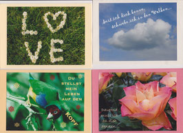 4 verschiedene Foto-Faltkarten: LOVE