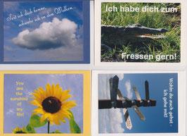 4 verschiedene Foto-Faltkarten: ICH HABE DICH ZUM FRESSEN GERN