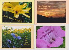 4 verschiedene Foto-Faltkarten: DER HIMMEL SOLL DIR BLÜHEN