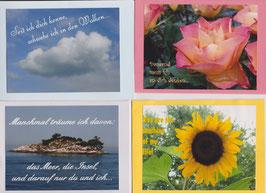4 verschiedene Foto-Faltkarten: SEIT ICH DICH KENNE, SCHWEBE ICH IN DEN WOLKEN