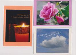 3 verschiedene Foto-Faltkarten: DU BRINGST VIEL LICHT IN MEIN LEBEN