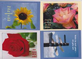 4 verschiedene Foto-Faltkarten: ICH LIEBE DICH SEHR