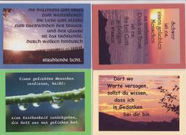4 verschiedene Foto-Faltkarten: TRAUER - WO WORTE VERSAGEN